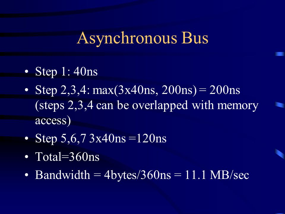 Asynchronous Bus Step 1: 40ns Step 2,3,4: max(3x40ns, 200ns) = 200ns (steps 2,3,4 can be overlapped with memory access) Step 5,6,7 3x40ns =120ns Total=360ns Bandwidth = 4bytes/360ns = 11.1 MB/sec