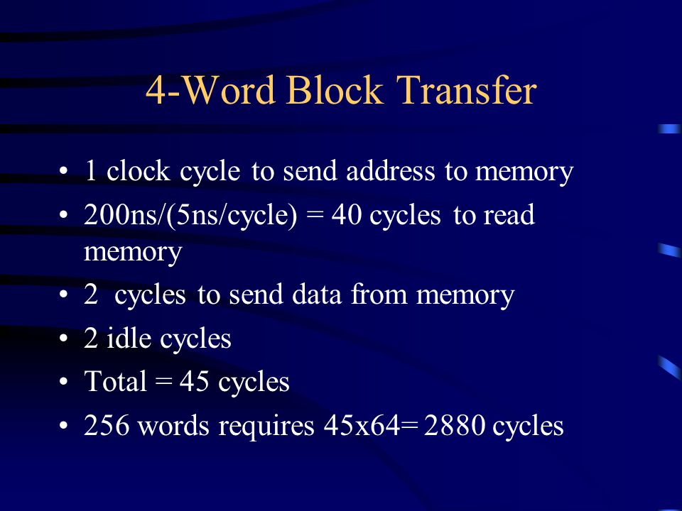 4-Word Block Transfer 1 clock cycle to send address to memory 200ns/(5ns/cycle) = 40 cycles to read memory 2 cycles to send data from memory 2 idle cycles Total = 45 cycles 256 words requires 45x64= 2880 cycles