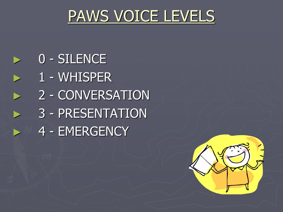 PAWS VOICE LEVELS 0 - SILENCE 0 - SILENCE 1 - WHISPER 1 - WHISPER 2 - CONVERSATION 2 - CONVERSATION 3 - PRESENTATION 3 - PRESENTATION 4 - EMERGENCY 4 - EMERGENCY