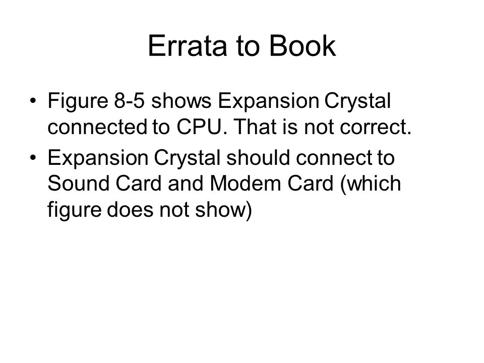 Errata to Book Figure 8-5 shows Expansion Crystal connected to CPU. That is not correct. Expansion Crystal should connect to Sound Card and Modem Card