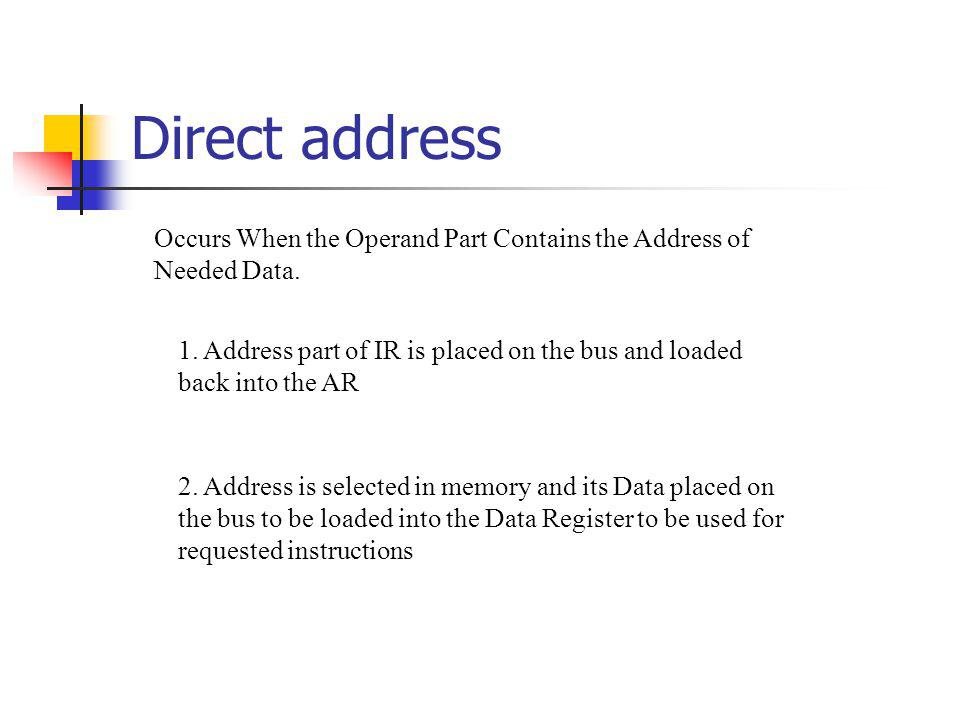 Direct address 2. Address is selected in memory and its Data placed on the bus to be loaded into the Data Register to be used for requested instructio
