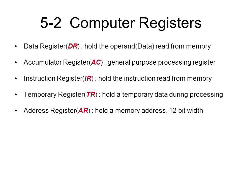 5-2 Computer Registers Data Register(DR) : hold the operand(Data) read from memory Accumulator Register(AC) : general purpose processing register Inst