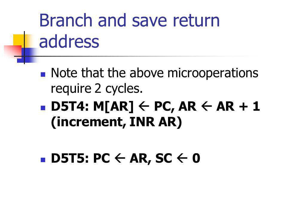 Branch and save return address Note that the above microoperations require 2 cycles. D5T4: M[AR] PC, AR AR + 1 (increment, INR AR) D5T5: PC AR, SC 0