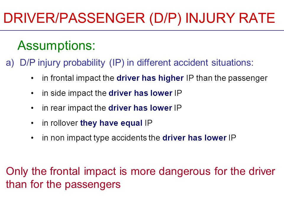 DRIVER/PASSENGER (D/P) INJURY RATE Assumptions (cont.): b) The average passenger capacity of a bus is 50 c) The buses are fully loaded in the accident d) The IP is equal for all passengers in frontal collisions These assumptions contain simplifications, but they help to recognise general tendencies