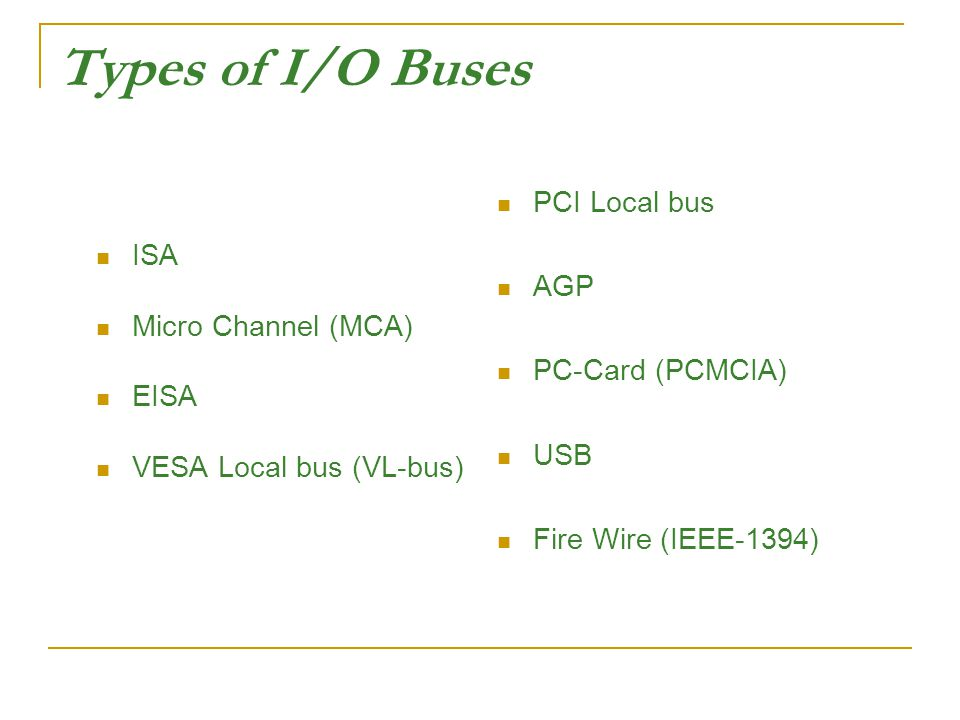 Types of I/O Buses ISA Micro Channel (MCA) EISA VESA Local bus (VL-bus) PCI Local bus AGP PC-Card (PCMCIA) USB Fire Wire (IEEE-1394)