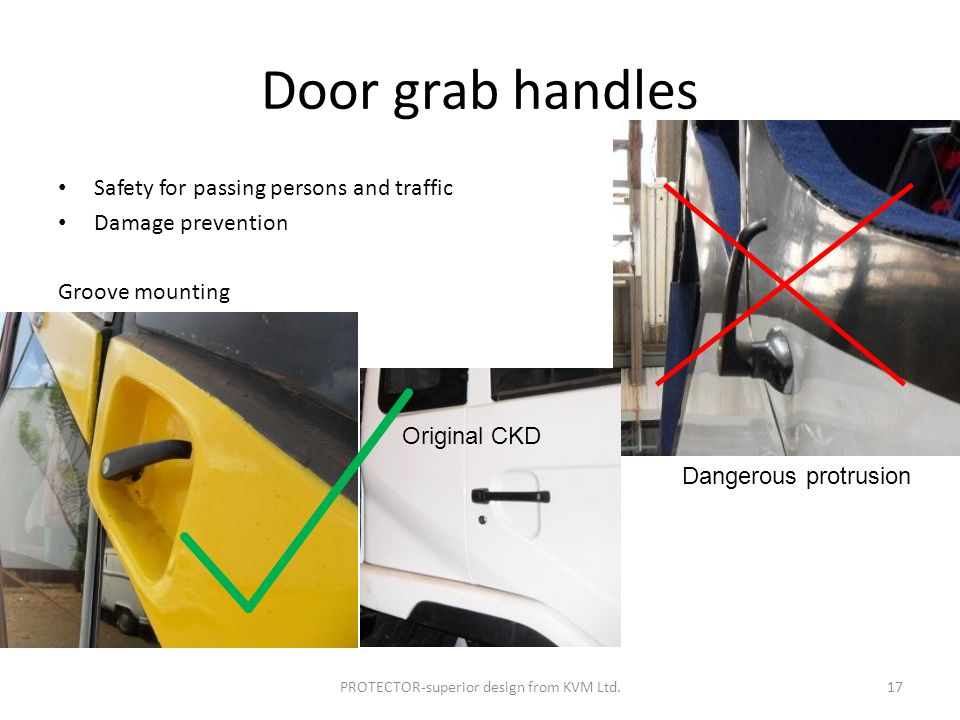 Door grab handles Safety for passing persons and traffic Damage prevention Groove mounting PROTECTOR-superior design from KVM Ltd.17 Original CKD Dangerous protrusion
