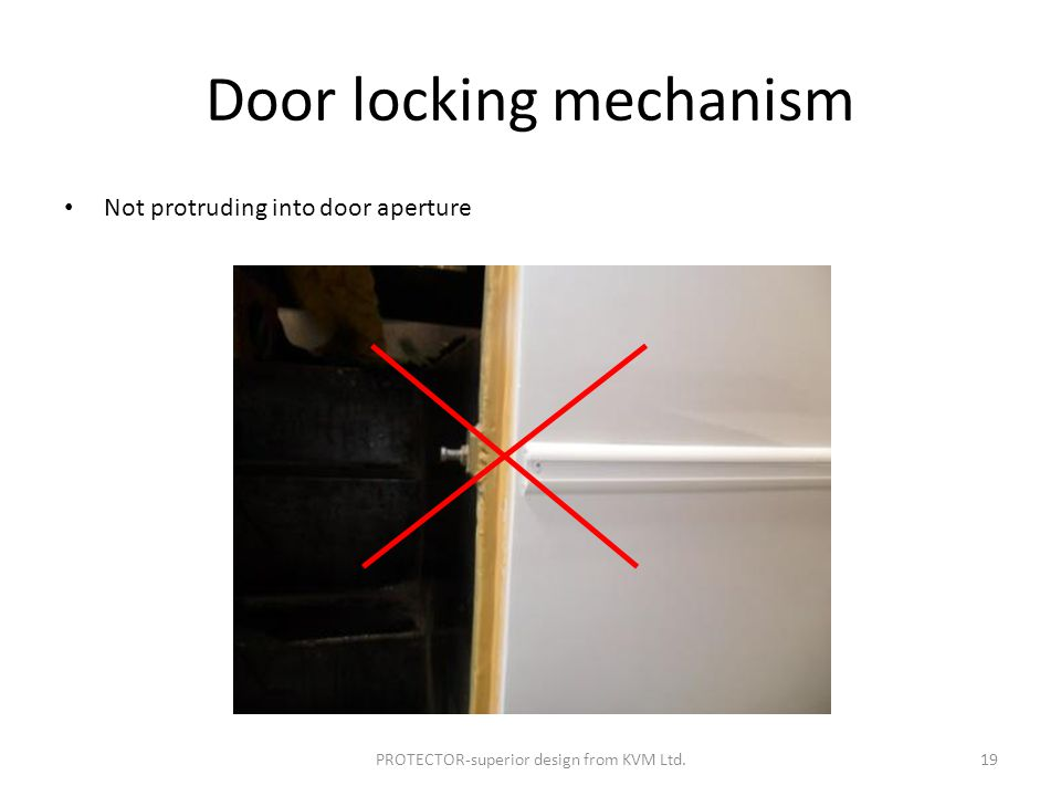 Door locking mechanism Not protruding into door aperture PROTECTOR-superior design from KVM Ltd.19