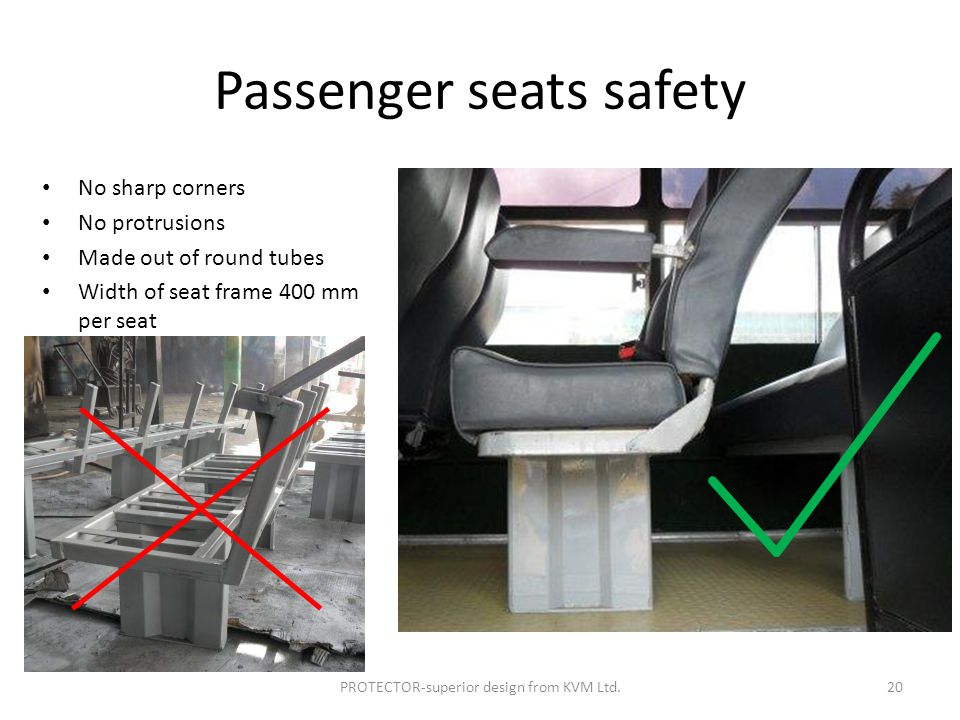 Passenger seats safety No sharp corners No protrusions Made out of round tubes Width of seat frame 400 mm per seat PROTECTOR-superior design from KVM Ltd.20