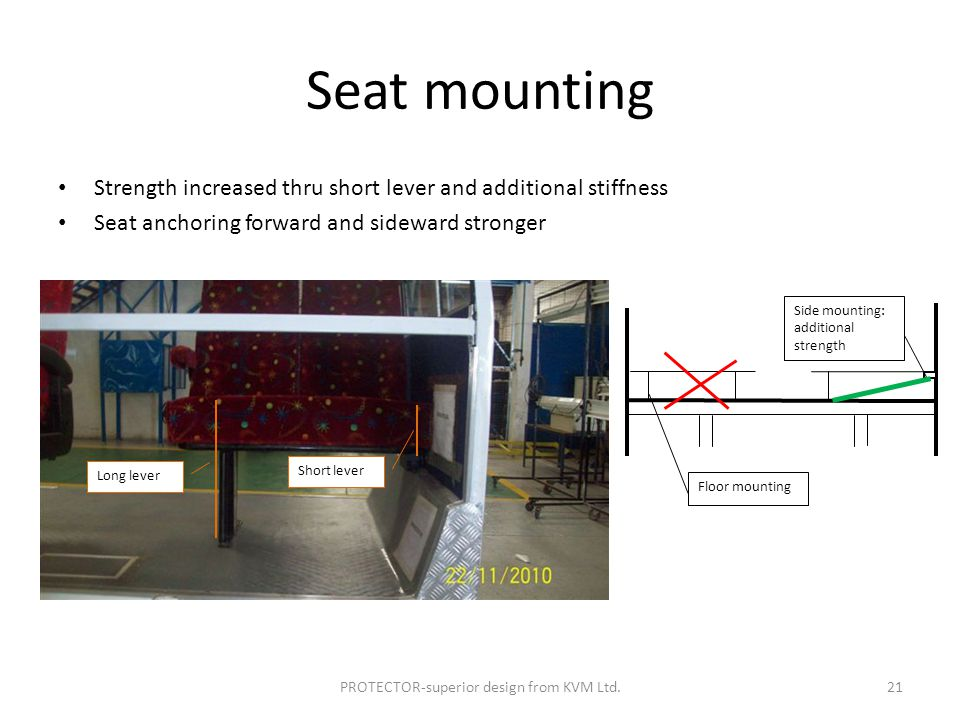 Seat mounting Strength increased thru short lever and additional stiffness Seat anchoring forward and sideward stronger Long lever Short lever Side mounting: additional strength Floor mounting PROTECTOR-superior design from KVM Ltd.21