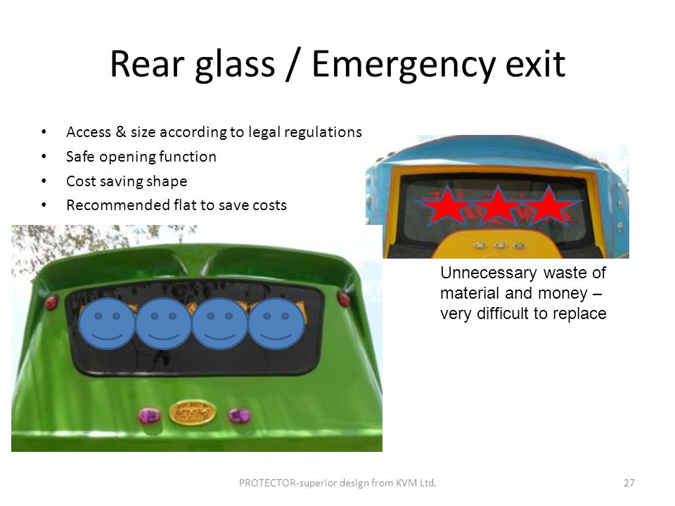 Rear glass / Emergency exit Access & size according to legal regulations Safe opening function Cost saving shape Recommended flat to save costs PROTECTOR-superior design from KVM Ltd.27 Unnecessary waste of material and money – very difficult to replace