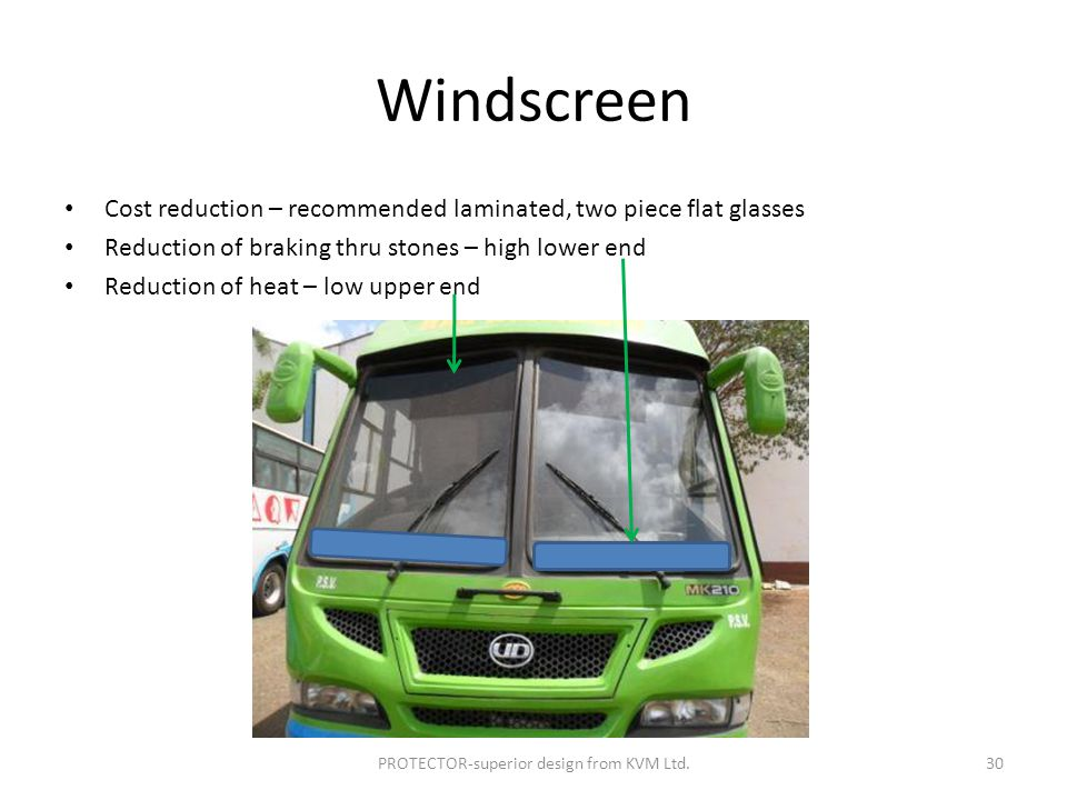 Windscreen Cost reduction – recommended laminated, two piece flat glasses Reduction of braking thru stones – high lower end Reduction of heat – low upper end PROTECTOR-superior design from KVM Ltd.30