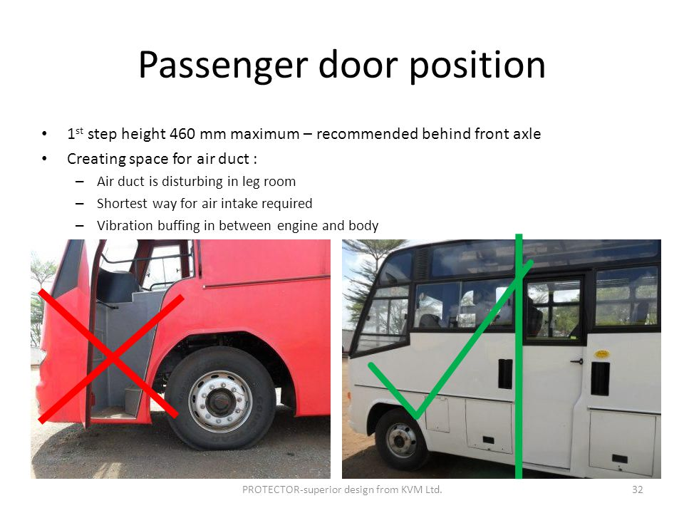 Passenger door position 1 st step height 460 mm maximum – recommended behind front axle Creating space for air duct : – Air duct is disturbing in leg room – Shortest way for air intake required – Vibration buffing in between engine and body PROTECTOR-superior design from KVM Ltd.32