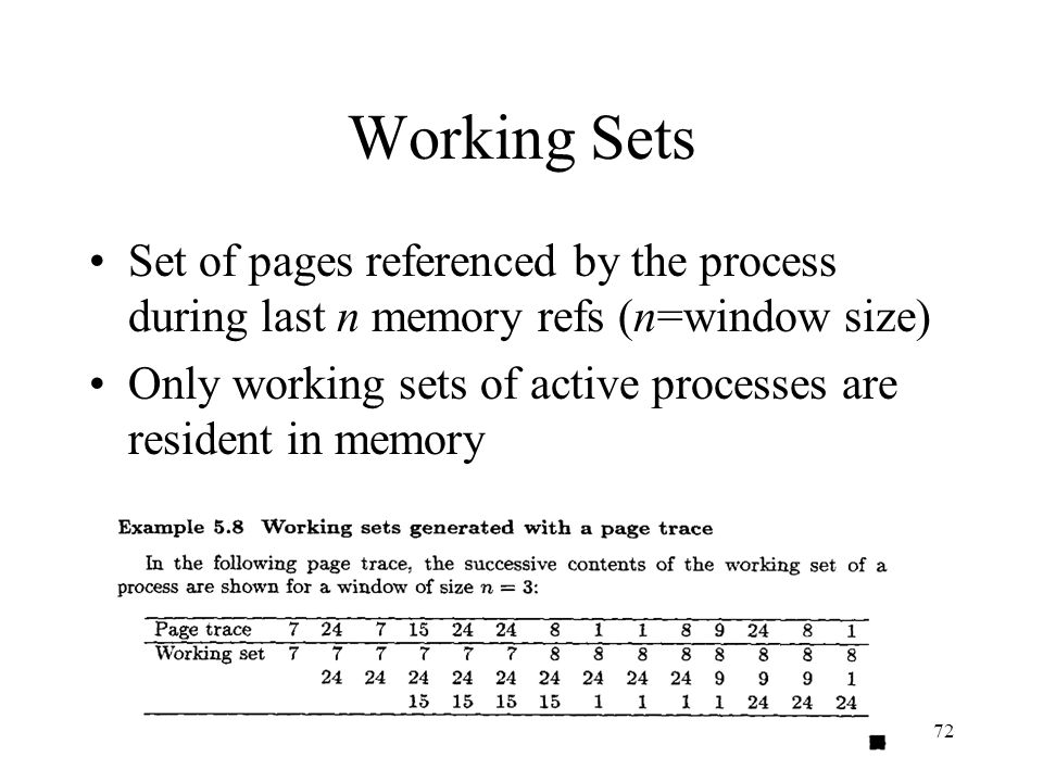 EENG-630 Chapter 572 Working Sets Set of pages referenced by the process during last n memory refs (n=window size) Only working sets of active process