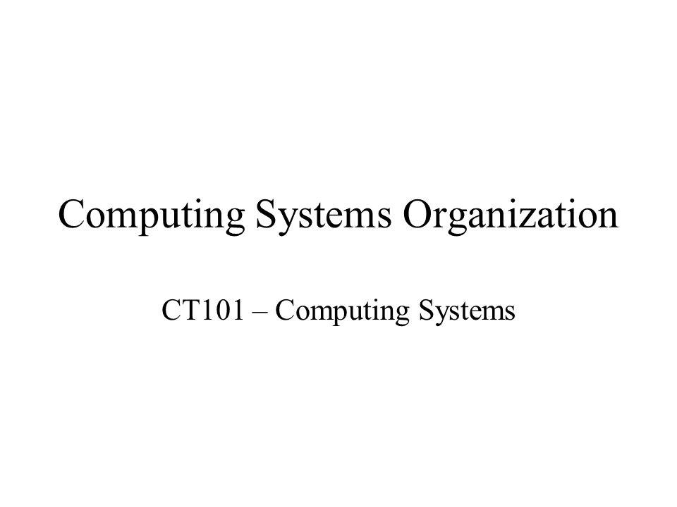 Computing Systems Organization CT101 – Computing Systems