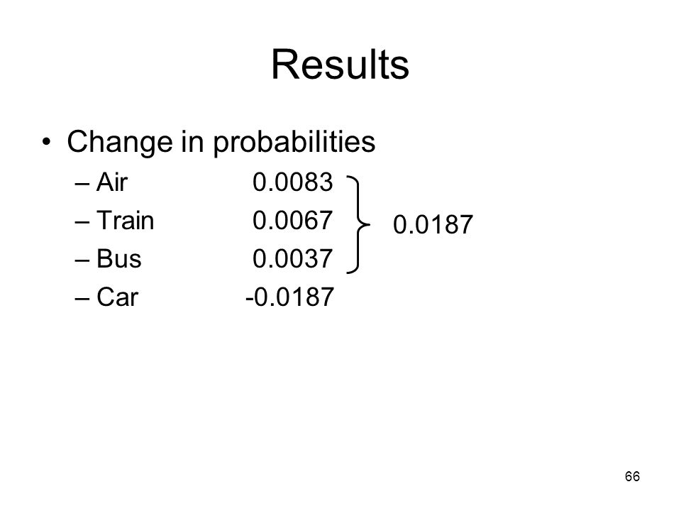 66 Results Change in probabilities –Air 0.0083 –Train 0.0067 –Bus 0.0037 –Car-0.0187 0.0187