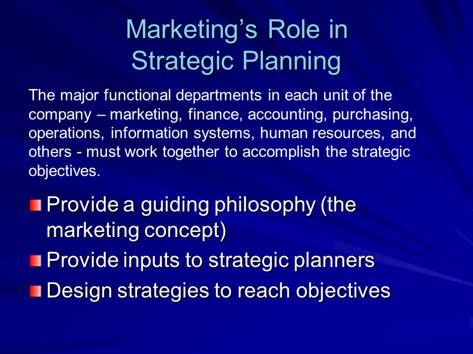 Marketings Role in Strategic Planning Provide a guiding philosophy (the marketing concept) Provide inputs to strategic planners Design strategies to r