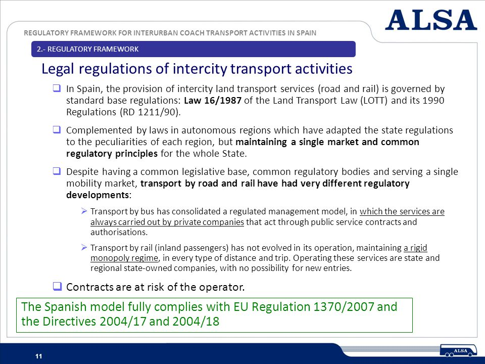 REGULATORY FRAMEWORK FOR INTERURBAN COACH TRANSPORT ACTIVITIES IN SPAIN 11 In Spain, the provision of intercity land transport services (road and rail