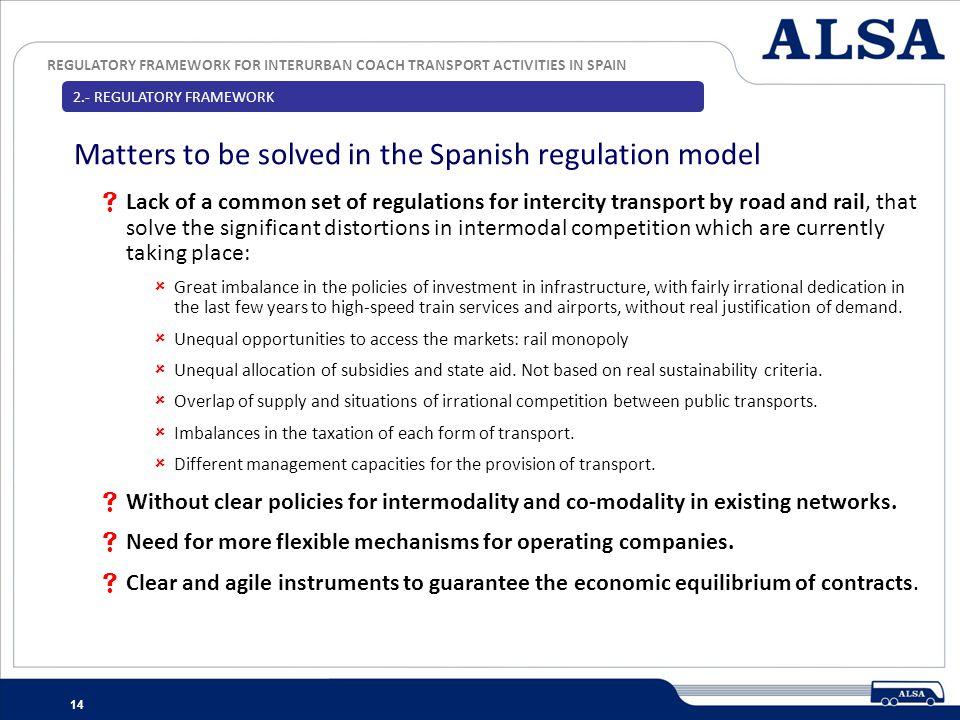 REGULATORY FRAMEWORK FOR INTERURBAN COACH TRANSPORT ACTIVITIES IN SPAIN 14 Lack of a common set of regulations for intercity transport by road and rai