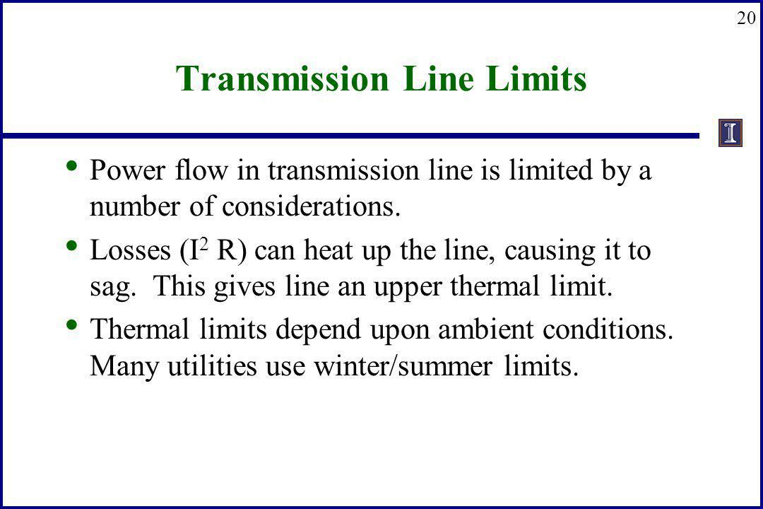 20 Transmission Line Limits Power flow in transmission line is limited by a number of considerations. Losses (I 2 R) can heat up the line, causing it