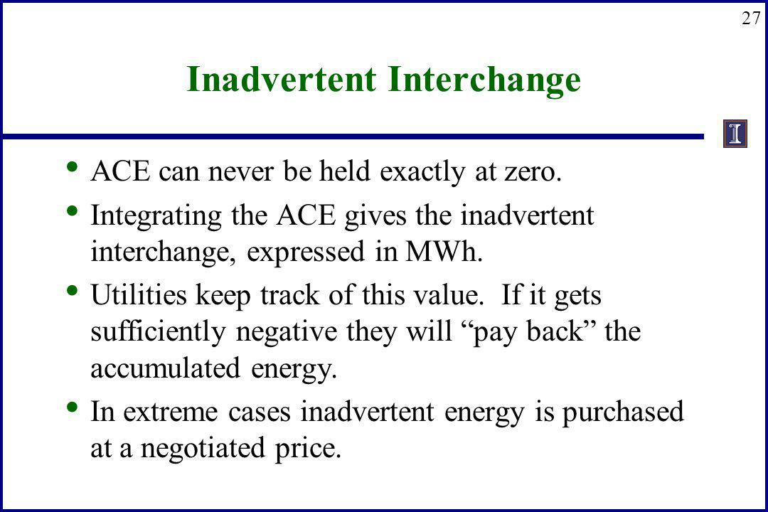 27 Inadvertent Interchange ACE can never be held exactly at zero. Integrating the ACE gives the inadvertent interchange, expressed in MWh. Utilities k