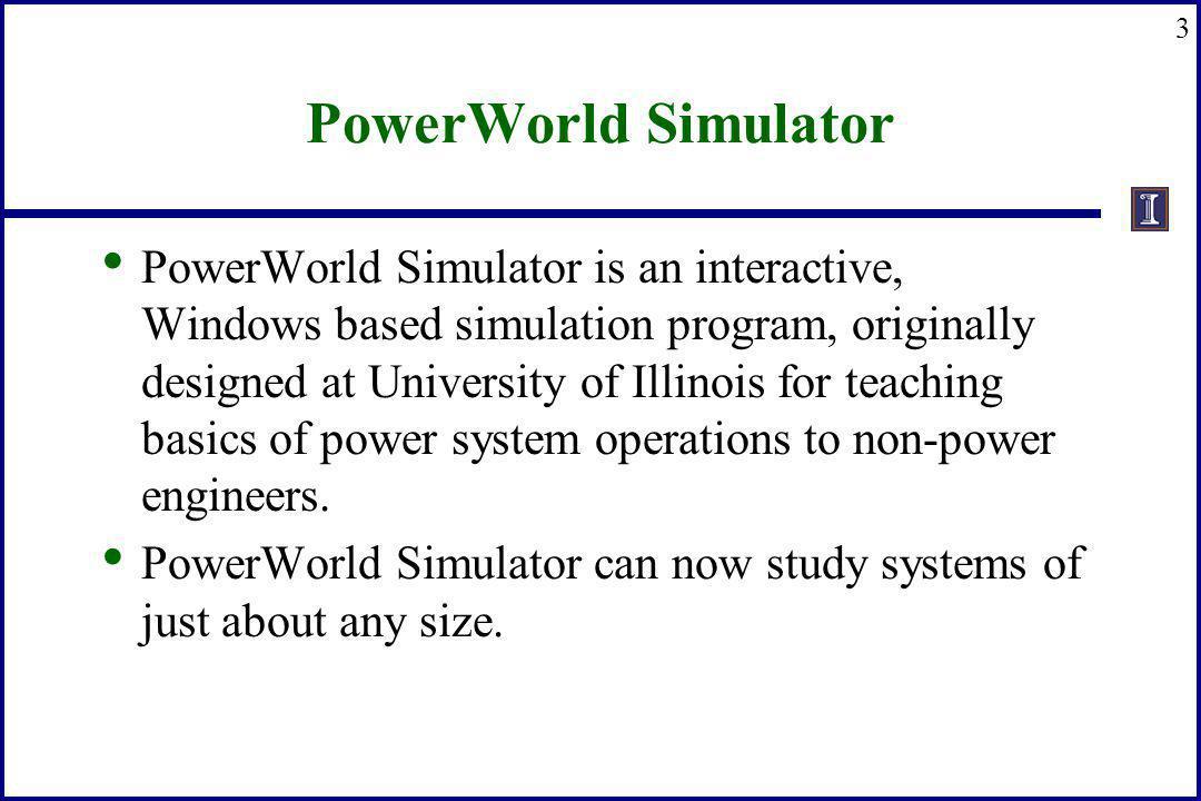 3 PowerWorld Simulator PowerWorld Simulator is an interactive, Windows based simulation program, originally designed at University of Illinois for tea
