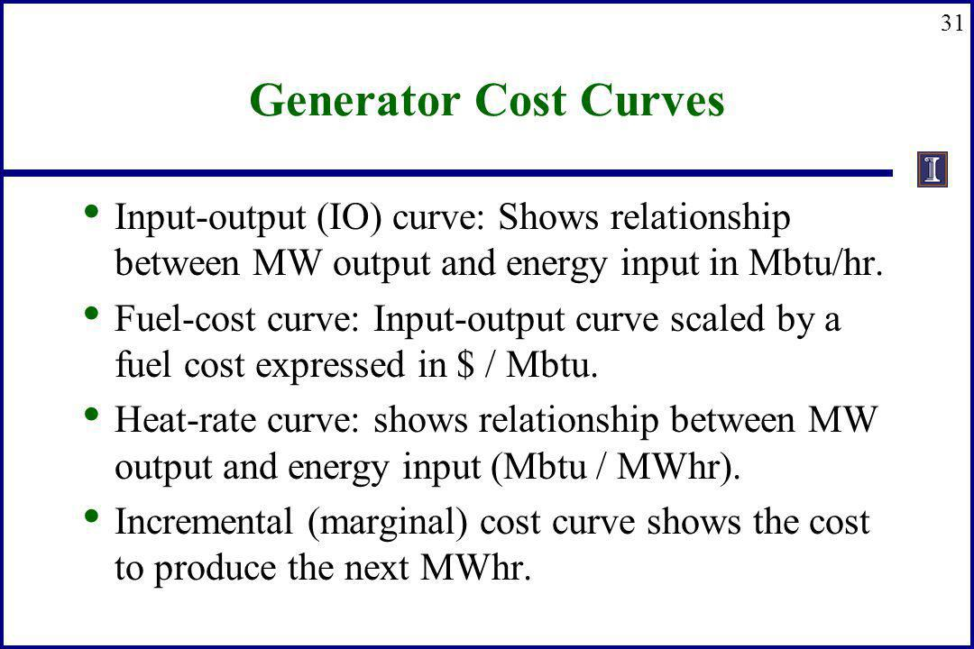 31 Generator Cost Curves Input-output (IO) curve: Shows relationship between MW output and energy input in Mbtu/hr. Fuel-cost curve: Input-output curv