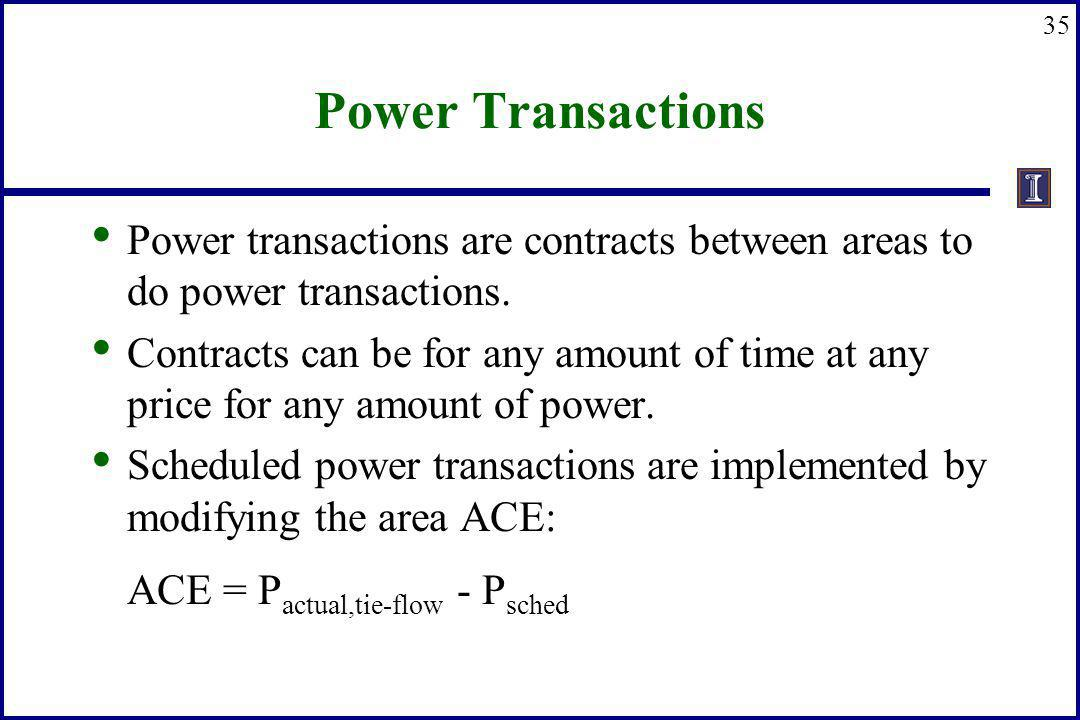 35 Power Transactions Power transactions are contracts between areas to do power transactions. Contracts can be for any amount of time at any price fo