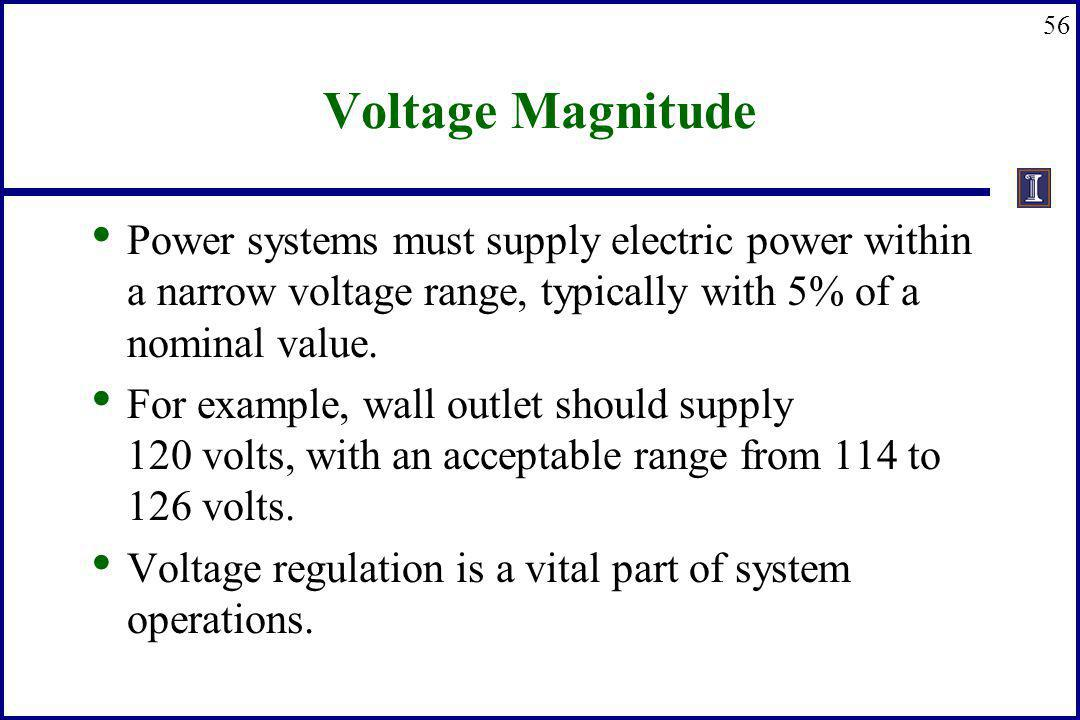 56 Voltage Magnitude Power systems must supply electric power within a narrow voltage range, typically with 5% of a nominal value. For example, wall o