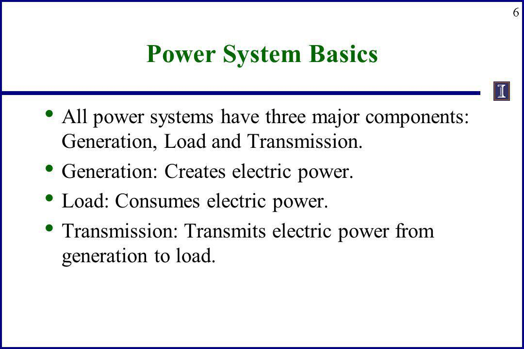 6 Power System Basics All power systems have three major components: Generation, Load and Transmission. Generation: Creates electric power. Load: Cons