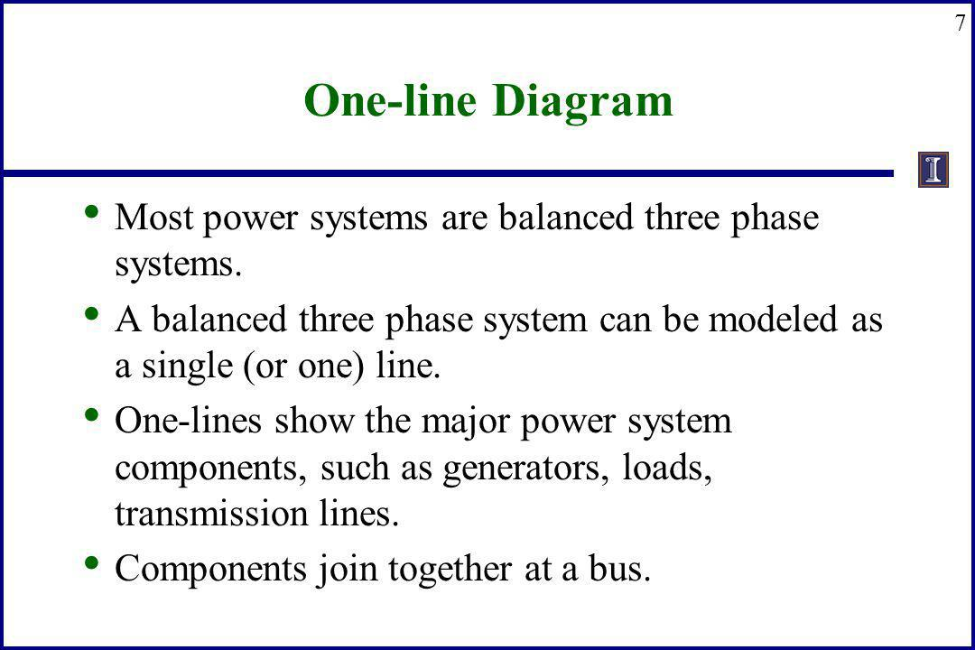 7 One-line Diagram Most power systems are balanced three phase systems. A balanced three phase system can be modeled as a single (or one) line. One-li