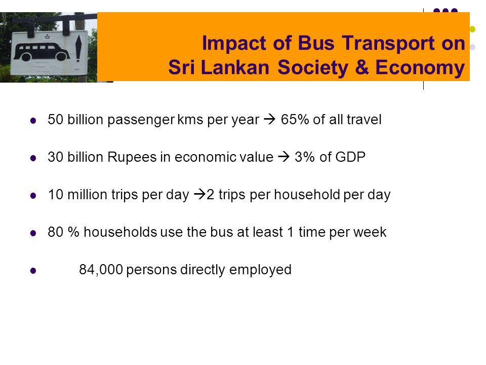 Impact of Bus Transport on Sri Lankan Society & Economy 50 billion passenger kms per year 65% of all travel 30 billion Rupees in economic value 3% of
