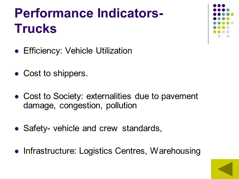 Performance Indicators- Trucks Efficiency: Vehicle Utilization Cost to shippers. Cost to Society: externalities due to pavement damage, congestion, po