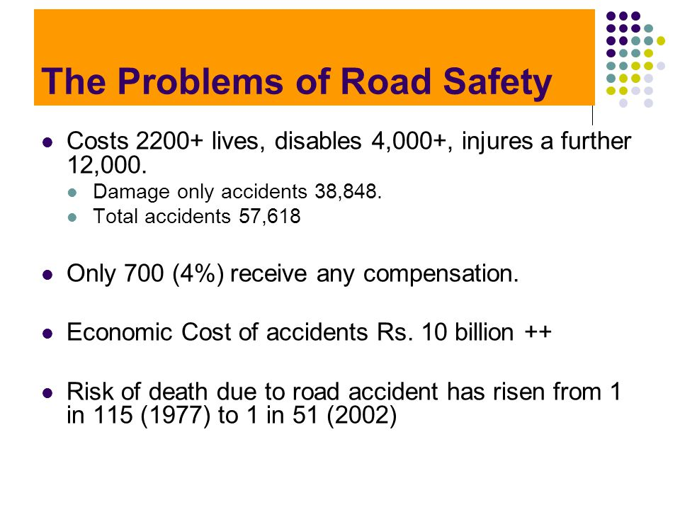 The Problems of Road Safety Costs 2200+ lives, disables 4,000+, injures a further 12,000. Damage only accidents 38,848. Total accidents 57,618 Only 70