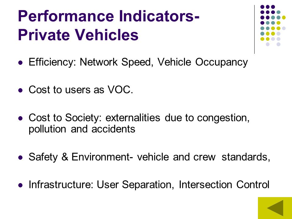 Performance Indicators- Private Vehicles Efficiency: Network Speed, Vehicle Occupancy Cost to users as VOC. Cost to Society: externalities due to cong