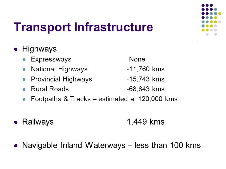 Transport Infrastructure Highways Expressways -None National Highways-11,760 kms Provincial Highways-15,743 kms Rural Roads -68,843 kms Footpaths & Tr