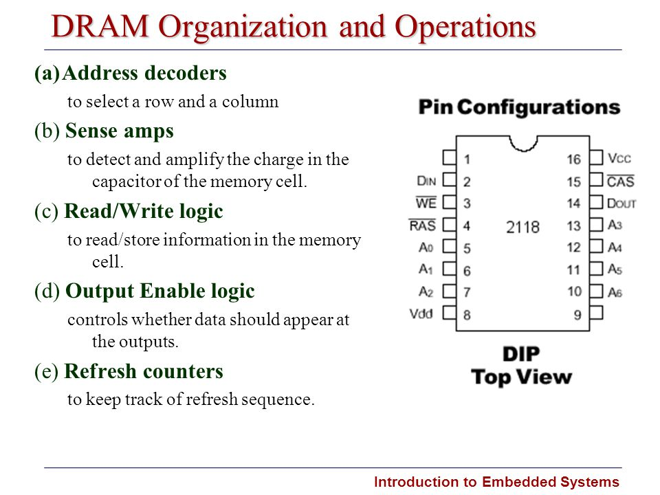 Introduction to Embedded Systems DRAM Organization and Operations (a)Address decoders to select a row and a column (b) Sense amps to detect and amplif