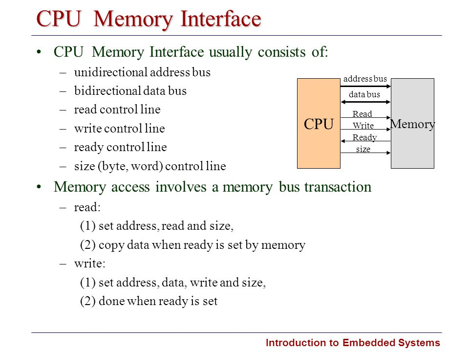 Introduction to Embedded Systems CPU  Memory Interface CPU  Memory Interface usually consists of: –unidirectional address bus –bidirectional data