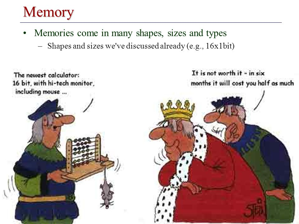 Introduction to Embedded Systems Memory Memories come in many shapes, sizes and types –Shapes and sizes we've discussed already (e.g., 16x1bit)