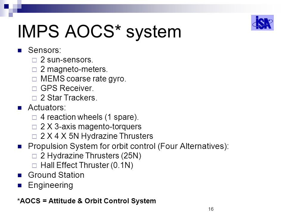 16 IMPS AOCS* system Sensors: 2 sun-sensors.2 magneto-meters.