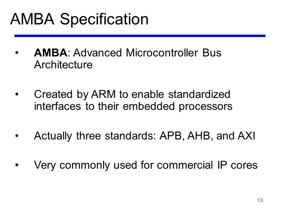 13 AMBA Specification AMBA: Advanced Microcontroller Bus Architecture Created by ARM to enable standardized interfaces to their embedded processors Ac