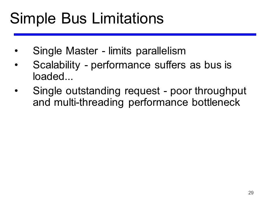 29 Simple Bus Limitations Single Master - limits parallelism Scalability - performance suffers as bus is loaded... Single outstanding request - poor t