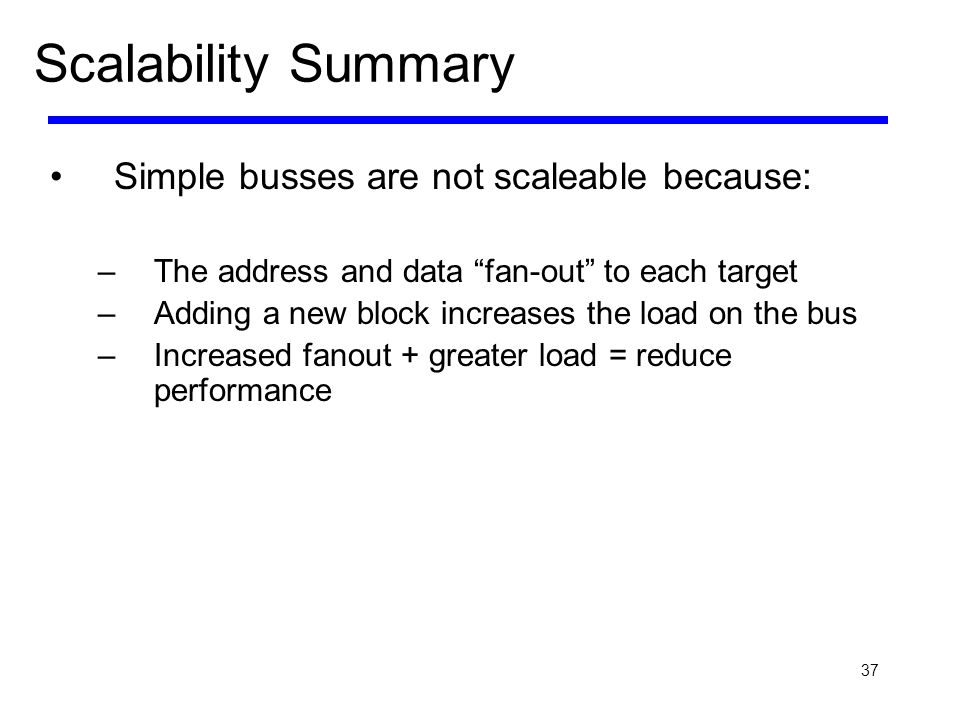 37 Scalability Summary Simple busses are not scaleable because: –The address and data fan-out to each target –Adding a new block increases the load on