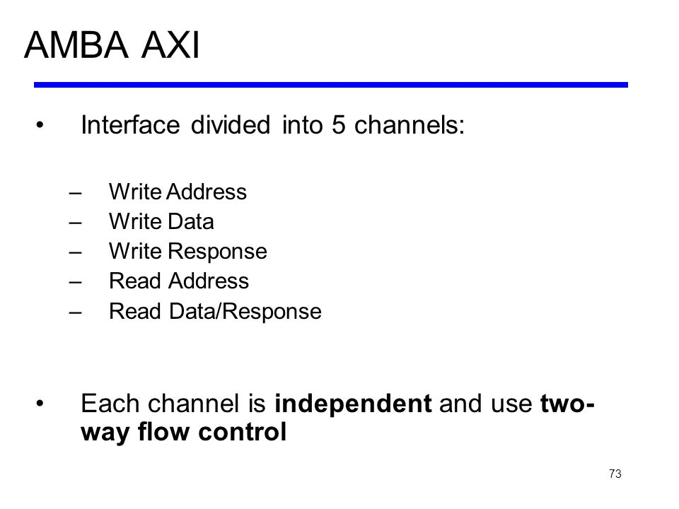 73 AMBA AXI Interface divided into 5 channels: –Write Address –Write Data –Write Response –Read Address –Read Data/Response Each channel is independen