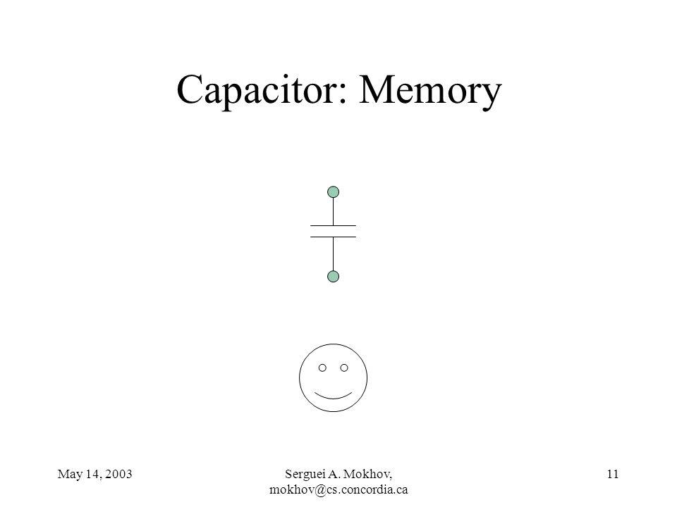 May 14, 2003Serguei A. Mokhov, mokhov@cs.concordia.ca 11 Capacitor: Memory