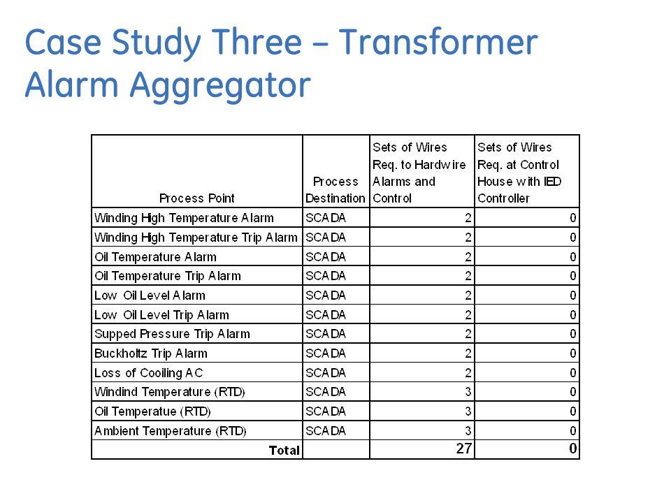 Case Study Three – Transformer Alarm Aggregator