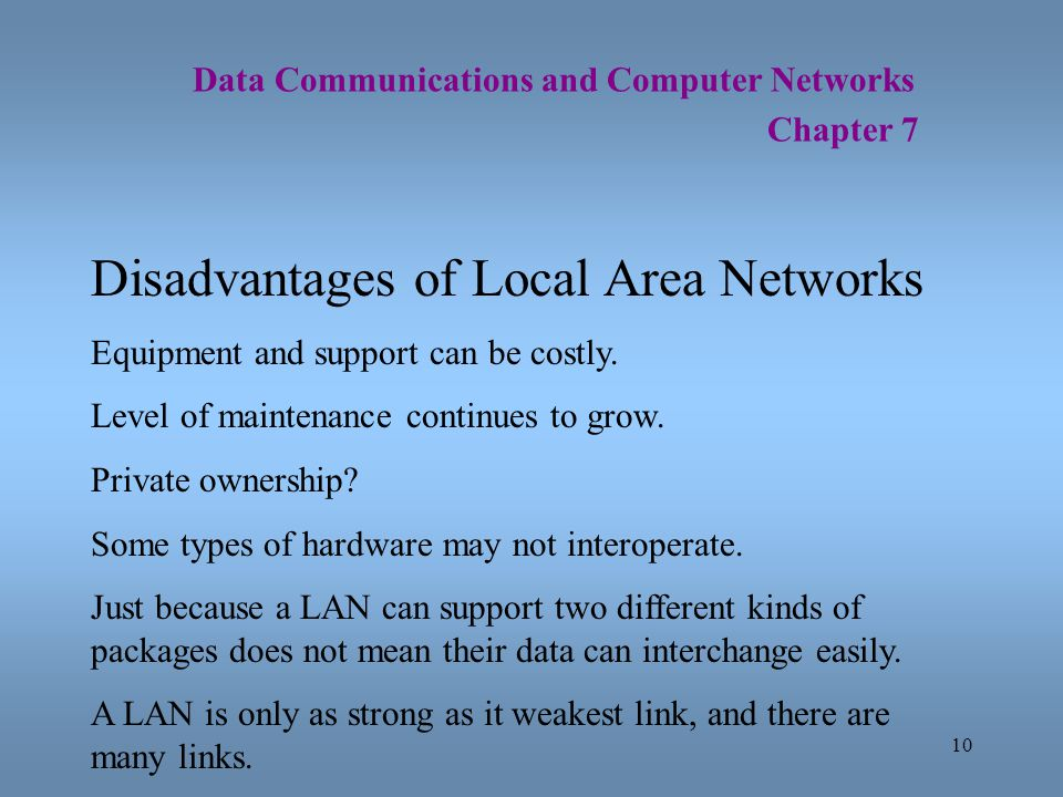 10 Data Communications and Computer Networks Chapter 7 Disadvantages of Local Area Networks Equipment and support can be costly. Level of maintenance