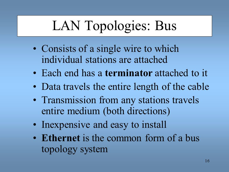 16 LAN Topologies: Bus Consists of a single wire to which individual stations are attached Each end has a terminator attached to it Data travels the e