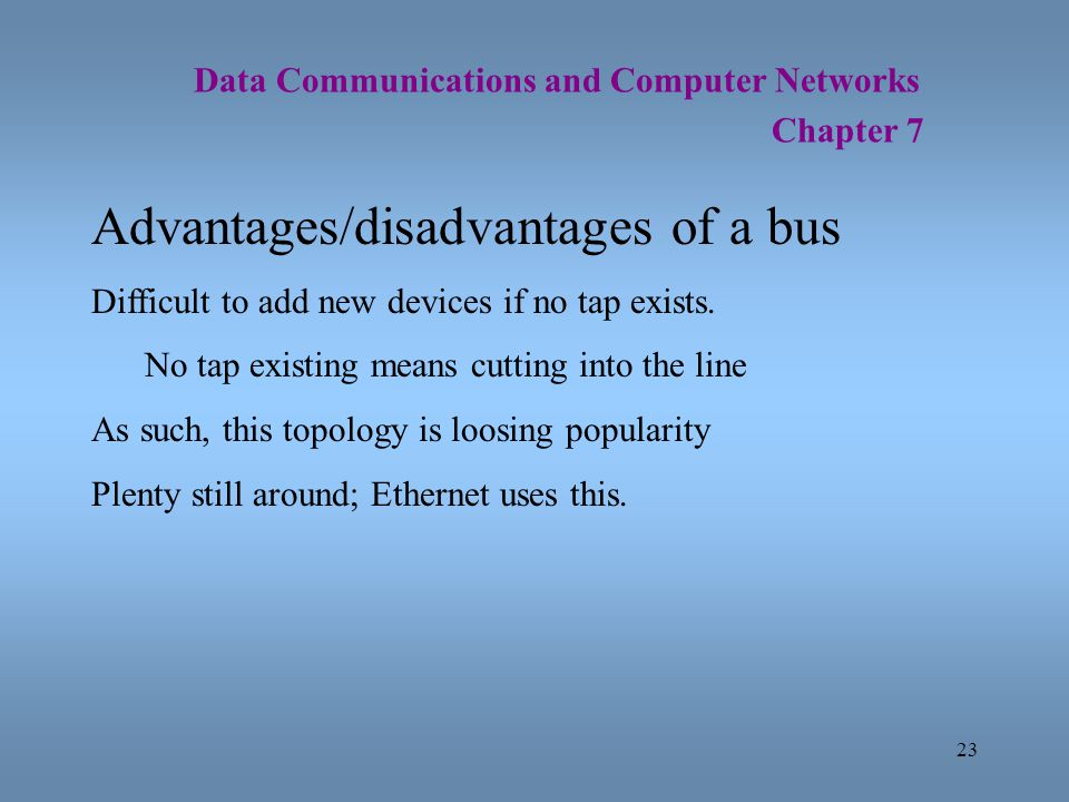 23 Data Communications and Computer Networks Chapter 7 Advantages/disadvantages of a bus Difficult to add new devices if no tap exists. No tap existin