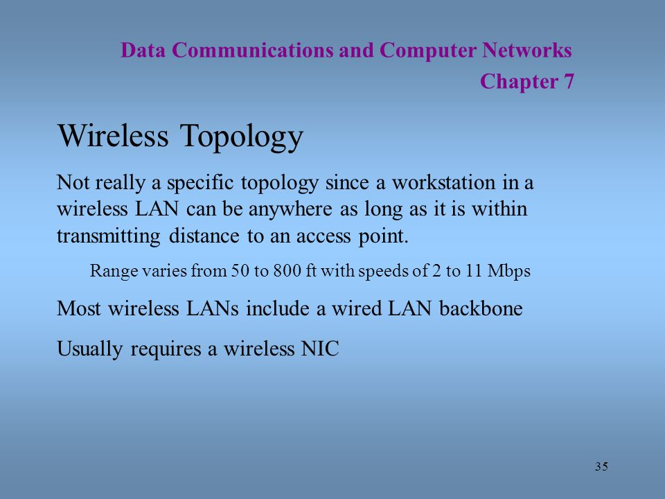 35 Data Communications and Computer Networks Chapter 7 Wireless Topology Not really a specific topology since a workstation in a wireless LAN can be a