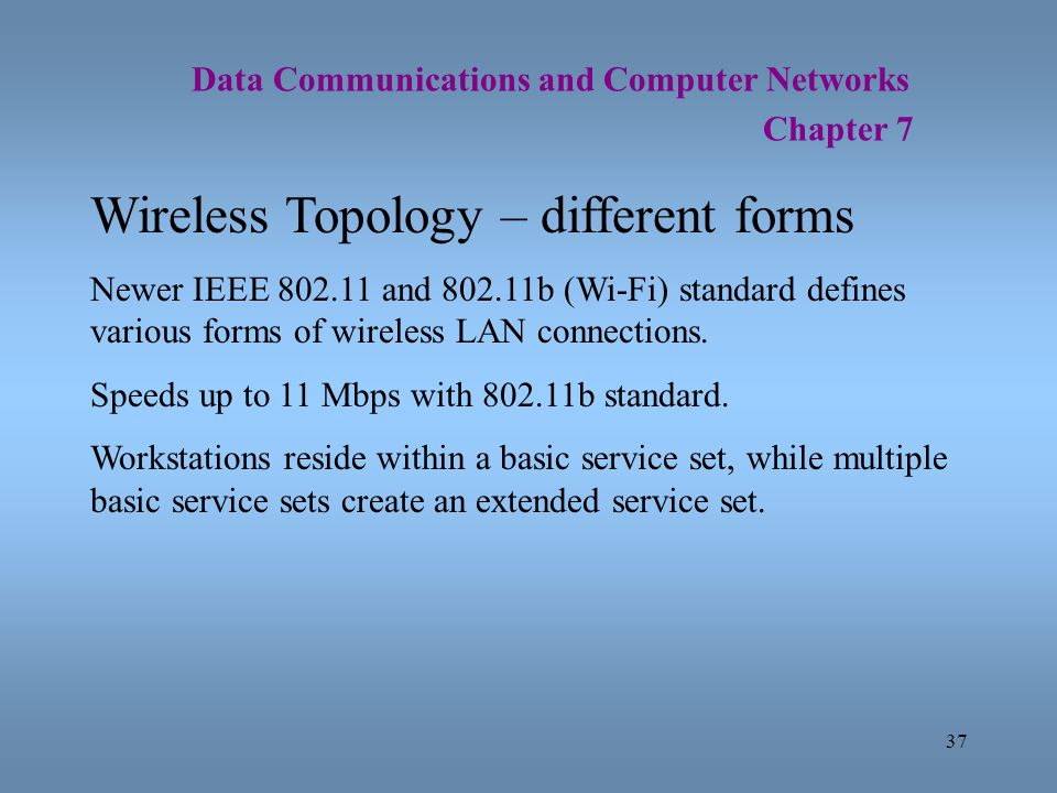 37 Data Communications and Computer Networks Chapter 7 Wireless Topology – different forms Newer IEEE 802.11 and 802.11b (Wi-Fi) standard defines vari